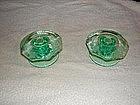 Green depression glass candle sticks