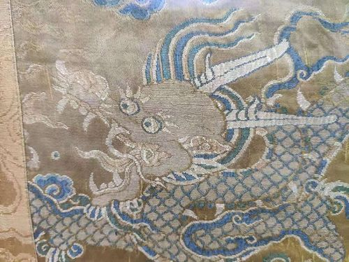 Chinese Imperial Yellow Round Dragon Brocade Fragment