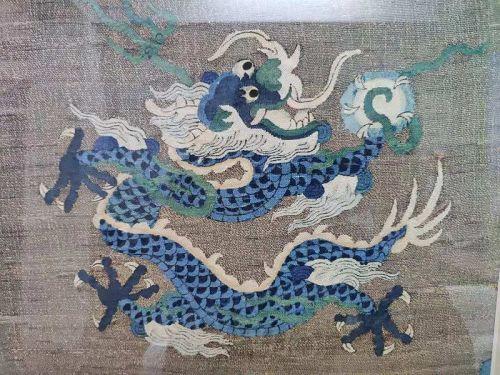 Chinese 18th Century Imperial Kesi Dragon Panel