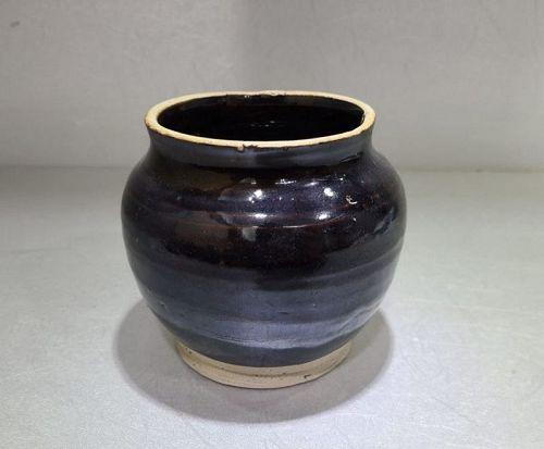 Chinese Ming Dynasty Black Glaze Jar