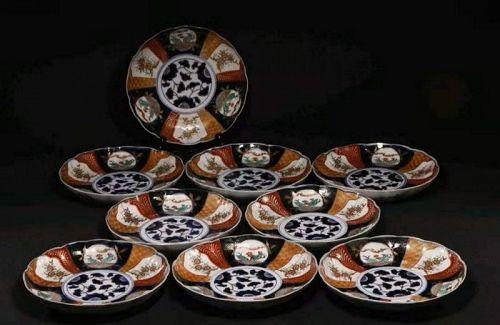 Set of 9 Japanese Meiji Period Koimari Foliated Plate