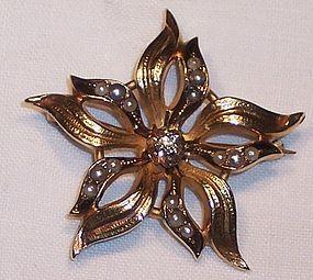 Victorian 14k Gold Starburst Pearl Diamond Brooch Pin