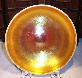 "Steuben Art Glass Gold Aurene Calcite Low 5"" Bowl"