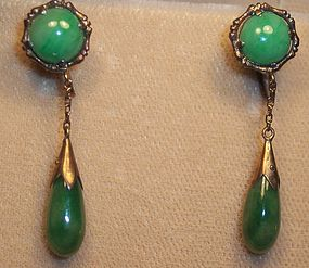 Antique Chinese 14k Gold Jade Jadeite Earrings Dangle
