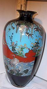 Fine Meiji Golden Age Japanese Cloisonne Enamel Vase Cranes
