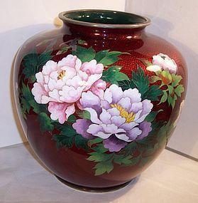 Lg Japanese Red Cloisonne Enamel Pigeon Blood Vase Basse Taille Peony