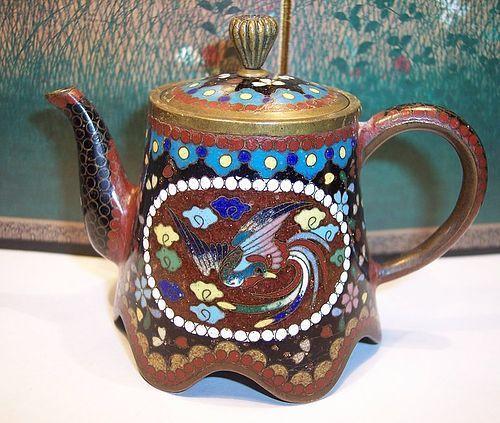 Antique Japanese Cloisonne Enamel Miniature Teapot c.1890