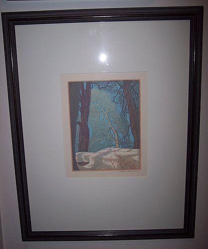James Dexter Havens Wood Block Print Winter Morning Framed