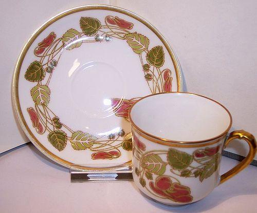 Haviland Limoges China Porcelain Art Nouveau Demitasse Cup & Saucer