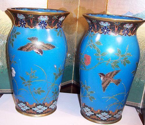 Pair Japanese Meiji Cloisonne Enamel Early Vases Birds & Flowers