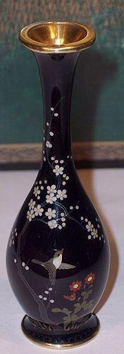 Antique Japanese Cloisonne Enamel Miniature Cabinet Vase Golden Age