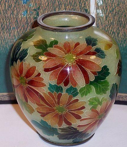 """Japanese Meiji Plique a Jour Cloisonne Enamel Vase Mum Floral c1900 3"""""""