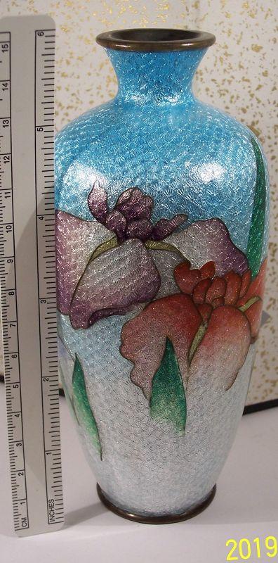 """Japanese Cloisonne Enamel Silver Ginbari 5 3/4"""" Vase Iris Sgnd"""