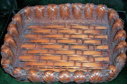 "Antique Japanese Wood Woven Basket Meiji 18"" x 14"""