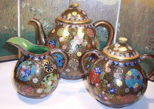 Fine Antique Japanese Cloisonne Enamel Tea Set Pot Bowl Pitcher 1890