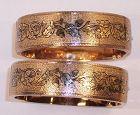 Taille D'Epargne Enamel 14k Gold Bangle Bracelets 1870 Acrorn Oak Leaf