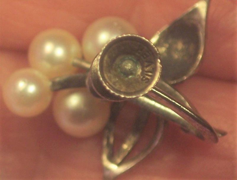 Vintage Sterling Silver Japanese Okoya Pearl Earrings Screw Back
