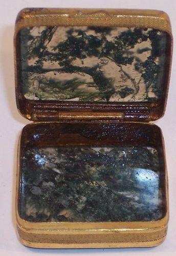 Antique Green Moss Agate Hard Stone Pill Trinket Box Germany