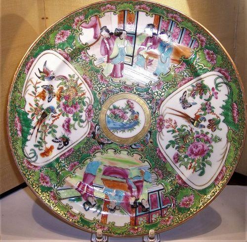 "Antique Chinese Export Porcelain Rose Medallion 9 3/4"" Plate C1840"