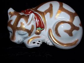 Antique Japanese Kutani Porcelain Cat 1900 Mint