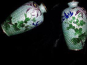 Matched Pair Ginbari Japanese Cloisonne Vases 1900