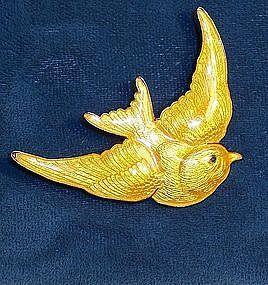 Vintage Sterling Yellow Enamel Bird Pin Brooch