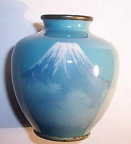 Meiji Japanese Musen Cloisonne Cabinet Vase Mount Fuji attrib Gonda