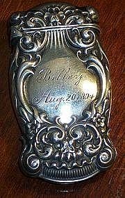 Art Nouveau Sterling Silver Match Safe Vesta Case