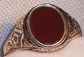 Vintage English 9 K Gold Carnelian Agate Stone Ring