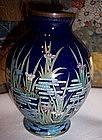 Meiji Japanese Cloisonne Enamel Cabinet Vase Iris attr.Kumeno Teitaro