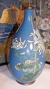 "Antique Japanese Cloisonne 5"" Cabinet Vase Silver Sosuke Style Mums"