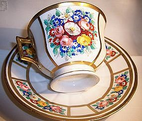 Antique Hand Painted German Tea Coffee Cup & Saucer