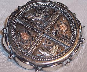 Antique Sterling & Gold English Brooch Pin 1901 Bird