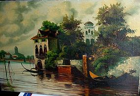 ITALIAN SCHOOL OIL ON CANVAS VENICE SCENE Signed ROMERO