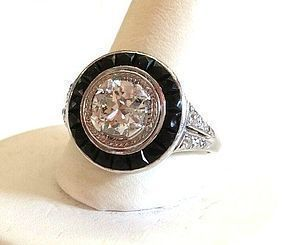 VINTAGE PLATINUM ART DECO RING ONE CARAT DIAMOND with ONYX ACCENTS