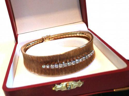 RETRO 18K YELLOW GOLD w DIAMONDS BRACELET