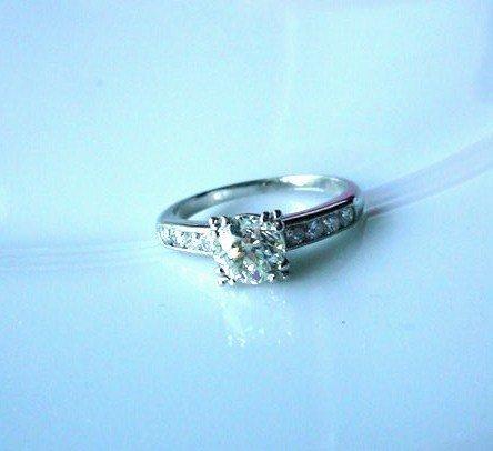 PLATINUM DIAMOND ENGAGEMENT RING .86 OLD EURO CUT DIAM