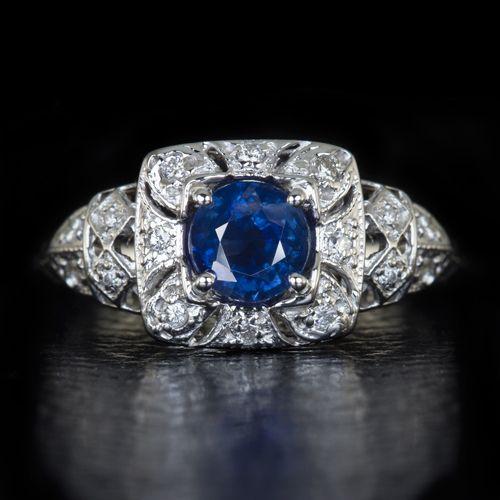 14K SAPPHIRE  DIAMOND RING ART DECO DESIGNS