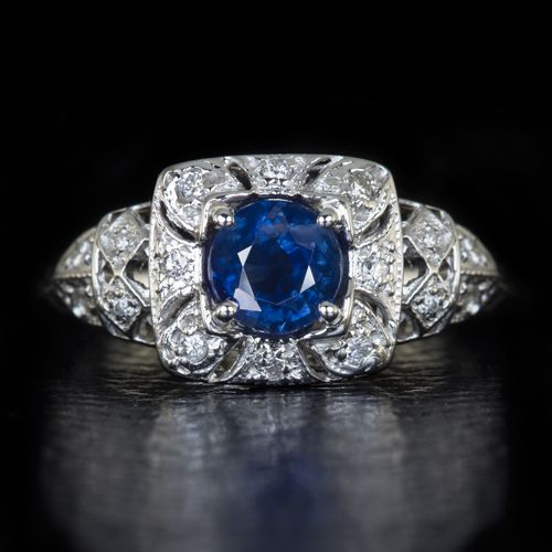 14K SAPPHIRE  DIAMOND RING ART DECO DESIGNS