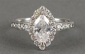 PLATINUM DIAMOND ENGAGEMENT DIAMOND RING MARQUIS CUT