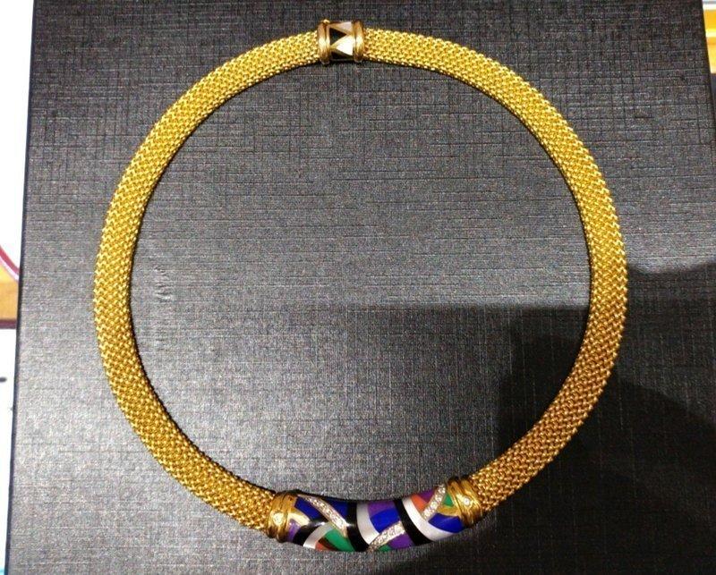 DESIGNER ASHBARD & GROSCH 14K YELLOW GOLD DIAMONDS & GEMS NECKLACE