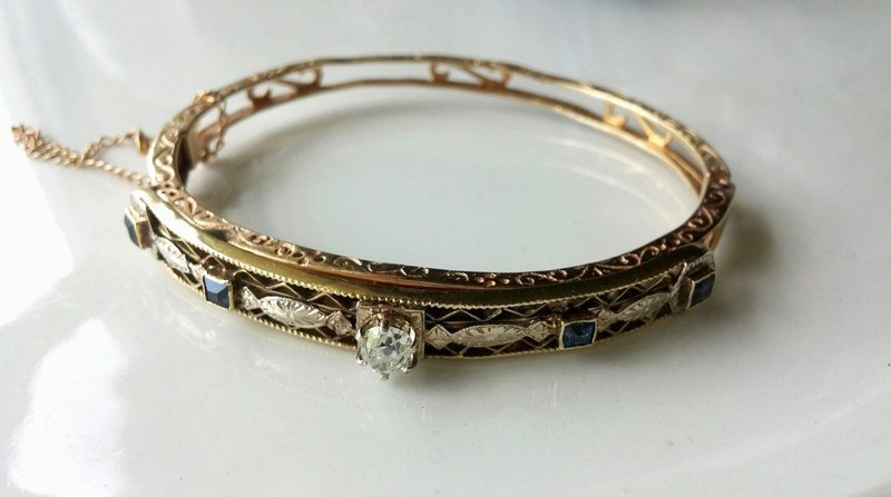 ANTIQUE DIAMOND BANGLE BRACELET 14k & HALF CARAT OLD MINE CUT