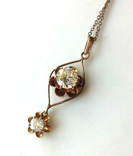 ANTIQUE 2 DIAMOND LAUVALIER 1.30 Carat & .35 Carat OLD EURO DIAMONDS