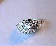18K WHITE GOLD FILIGREE & DIAMOND ENGAGEMENT RING .85Ct VS1 GH Color