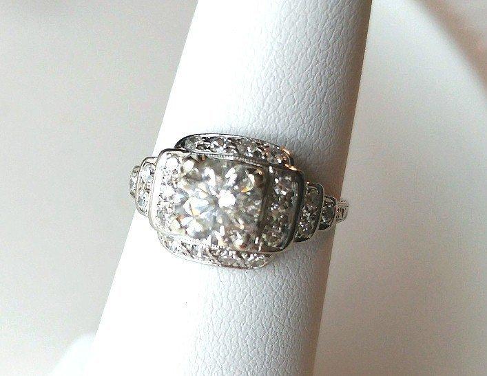 Platinum Diamond Engagement Ring 1.08 Ct. Center Diamond Step Mount