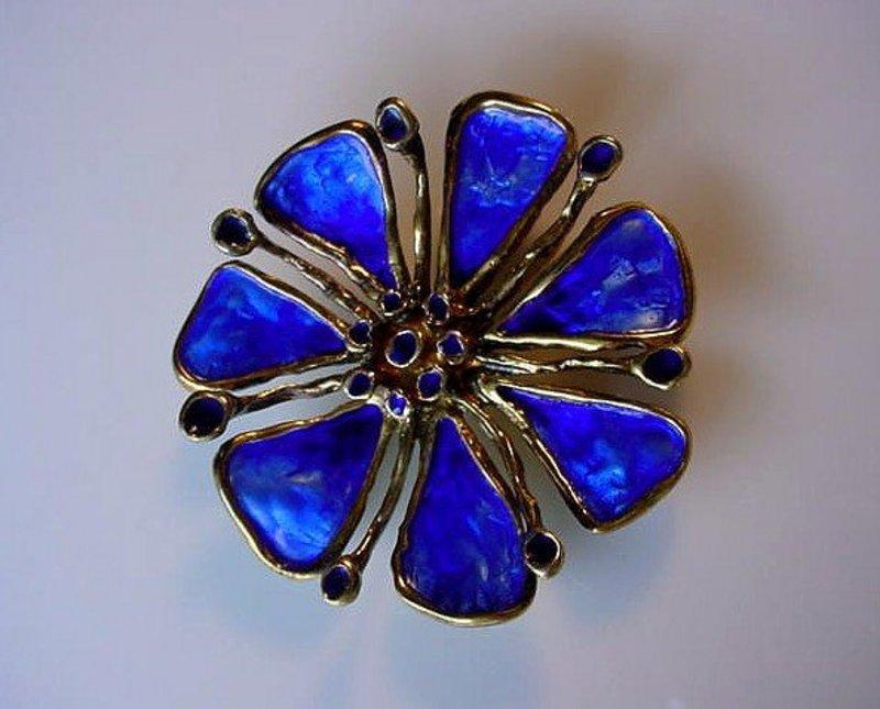 STERLING DAVID ANDERSEN BLUE ENAMEL FLOWER BROOCH