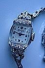 PLATINUM~DIAMOND WRISTWATCH... S. KIRK & SON ON DIAL