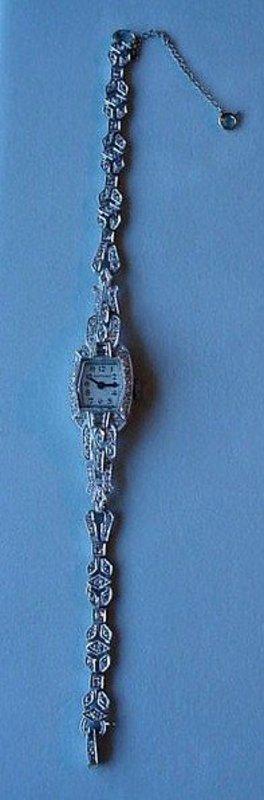 LADIES PLATINUM DIAMONDS WRISTWATCH WASH. D.C. ESTATE