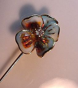 ENAMEL AND DIAMOND FLOWER STICKPIN WITH DIAMOND