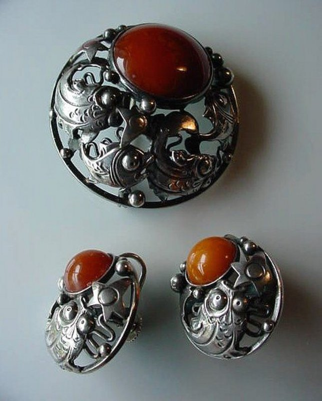 DESIGNER STERLING JEWELRY BY N.E. FROM { 3Pcs. ca.1970